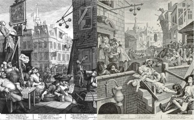 Beer Street and Gin Lane, two prints issued in 1751 by English artist William Hogarth