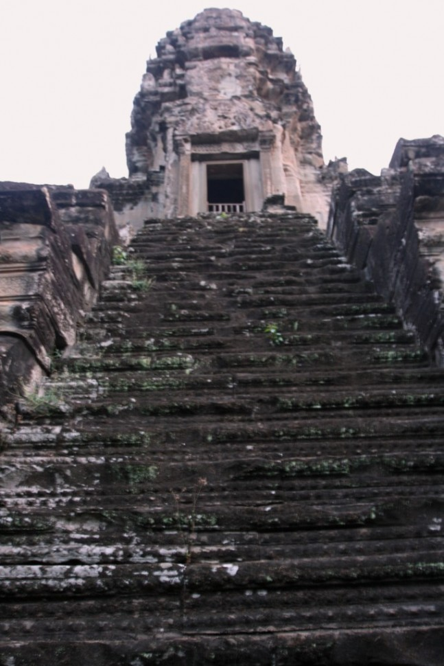 Angkor steep tower steps