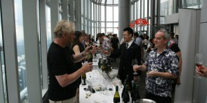 Salt grill walkabout tasting in full swing and a great buzz in the room – Nigel Greening from Felton Road, Central Otago seen here administering a pinot noir to the thirsty