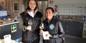 Khun Cha at Spy Valley - First outsider to sample our 2012 Sauvignon Blanc with winemaker Kathy Bird.