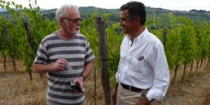 The Old World meets New World of Pinot Noir - Alan Brady with Giovanni Manetti in the Fontodi vineyards, Chianti