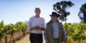 Ron Laughton (left) and Michel Chapoutier at Jasper Hill Vineyard