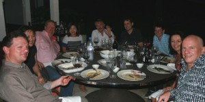 Sam Neill, Jeffrey Grosset and friends at the Wandering Palate table