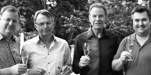 Sam Neill with fellow wine experts Curtis Marsh, Josh Jensen and Kai Schubert.