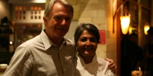 Coriander Leaf Chef-Proprietor Samia Ahad and Sam Neill