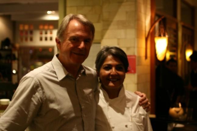 Coriander Leaf Chef-Proprietor Samia Ahad and Sam Neill