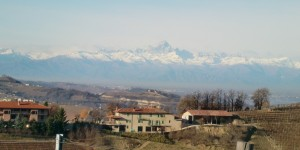 Mount Viso in the background at Mustela just outside Barbaresco and inside Langhe