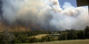 Bush fire photographed by Terry Chellappah perilously close to his Margaret River property