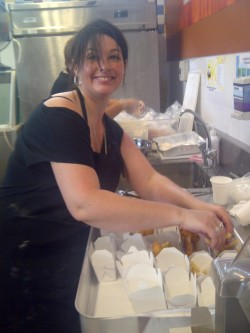One of our New Zealand crew members working on the fish n chips assembly line