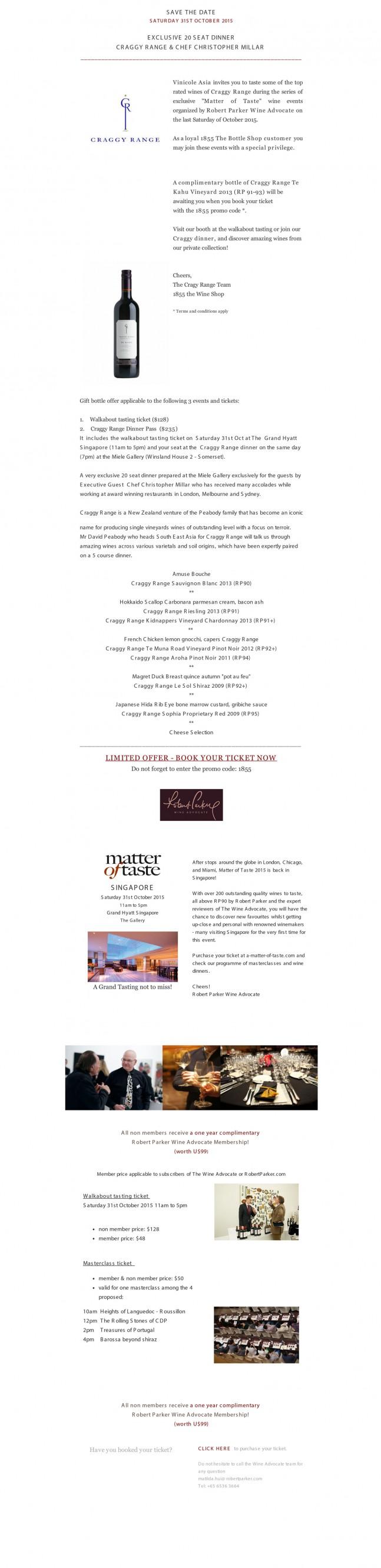 Robert Parker Matter of Taste - Craggy Range Dinner Singapore