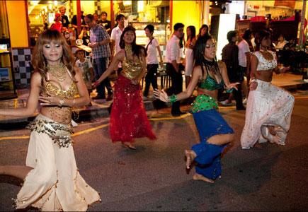Dancing on street, Singapore
