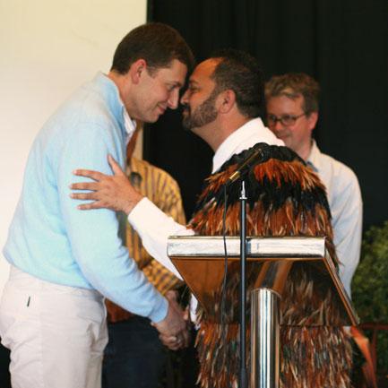 Olivier Humbrecht greeted by Maori Elder