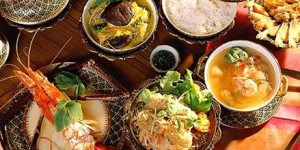 A variety of Thai food