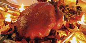 Roast turkey on Christmas dinner